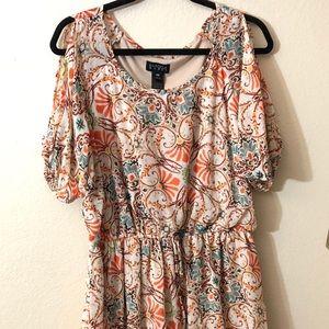 Tan Patterned Cold Shoulder Dress